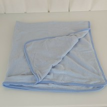 """Carters Sky Blue White Stripe Cotton Receiving Swaddle Baby Blanket 37x30"""" - $33.65"""