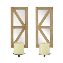 Fir Wood Candle Sconce with Mirrored Back Set of 2 - $52.42