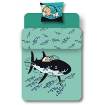 Tintin Shark submarine single duvet cover set square pillow official product image 2