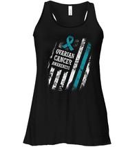 Teal Line Ribbon Ovarian Cancer USA Flag Flowy Racerback Tank - $26.95+