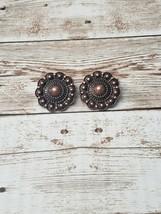 Vintage Clip On Earrings Bronze Metal Flower - $12.99