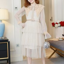 Maternity Dress Solid Color Lace Patchwork Waist Tied Dress image 2