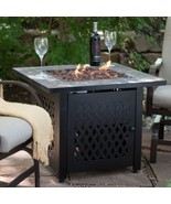 Outdoor Fireplace Fire Pit Table Propane Gas Patio Large Stone Cover Gar... - $277.19
