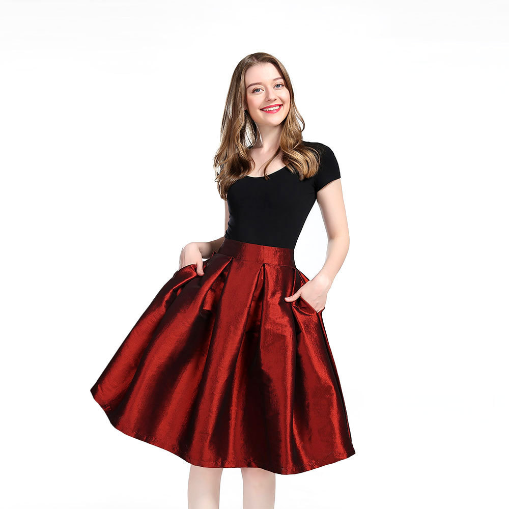Women BLACK A-Line Ruffle Skirt Lady Taffeta High Waist Midi Pleated Party Skirt
