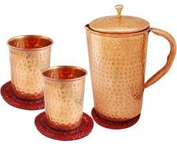 Rastogi Handicrafts Copper Hand Hammered jug 1.6 L with 2 Hammered glass... - $37.62