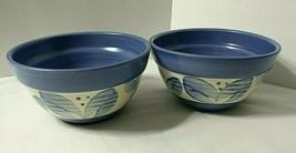 "Pfaltzgraff VILLA FLORA 2 Soup Cereal Bowls Blue Leaves 5-7/8"" W 3-1/4"" High  - $42.52"
