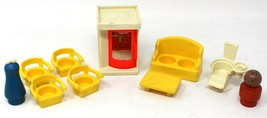 Vintage Fisher Price Little People Furniture couch Phone Booth Chairs Lo... - $13.99