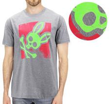 Men's Psycho Bunny Heather Grey Short Sleeve Tee Logo Graphic Shirt T-Shirt