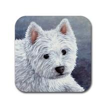 Rubber coasters set of 4, Dog 137 White Westie blue art by L.Dumas - $10.99