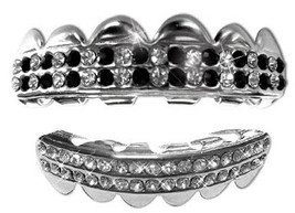 Silver Mouth Teeth Grillz Upper & Lower Set - Straight Outa Compton - $11.29