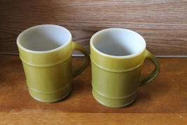 Lot of 2 Anchor Hocking Fire King Green Ranger Barrel Glass Mug Cups - $11.87
