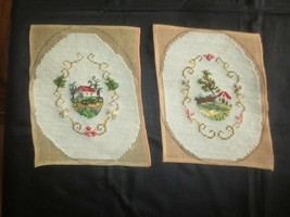 2 Vintage SCROLL Framed COUNTRY COTTAGES NEEDLEPOINT Panels--Designs 4 3... - $8.91