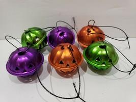 Halloween Pumpkin Orange Green Mini Bell Tree Ornaments Decor Set of 6 - $9.99