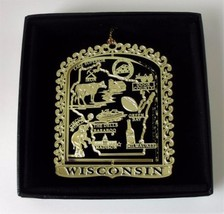 Wisconsin State Landmarks Brass Ornament Black Leatherette Box - $14.95