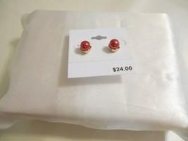 "Charter Club 1/4"" Gold Tone Red Stud Earrings B722 - $11.51"