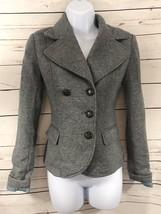 Women's H&M Sz 2 Gray Fleece Sweatshirt Feel Button Up Waist Length Blazer Coat - $12.20