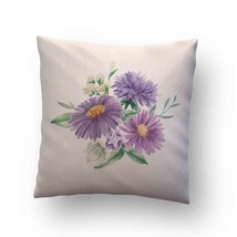 Purple Flower Elements on Beige Throw Pillow Case Decorative Cushion Cover - $17.29