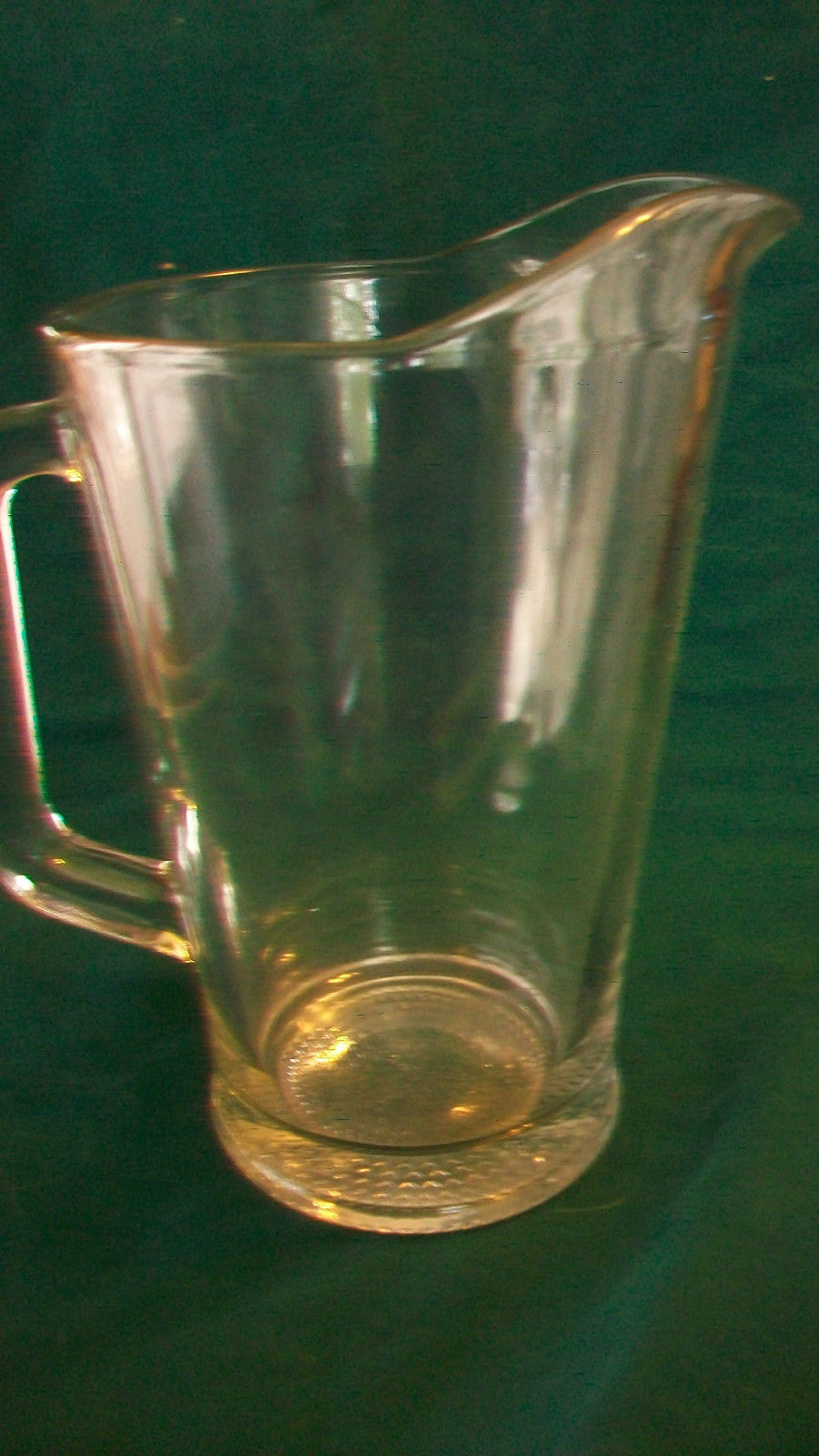 LARGE CLEAR GLASS BEER OR WATER PITCHER WITH RAISED TRIANGLES ON BOTTOM