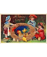 A HAPPY EASTER~CHILD ARTISTS PAINTING GOLDEN EGG POSTCARD c1912 - $7.07