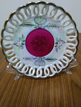 Vintage Lipper & Mann Iridescent  Lusterware White Plate Hand Painted Gold/Red P image 1