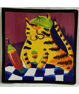 Naylor Designs Cool Cat Kitty With Wine Plate Ceramic Square Wall Hanging - $37.95