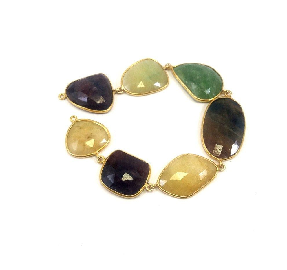 Primary image for PRECIOUS NATURAL GEMSTONE MULTI- SAPPHIRE FINE 925 STERLING SILVER BRACELET 7 IN