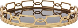 Howard Elliott Kyron Tray Round Black Gilded Gold Glass - $589.00
