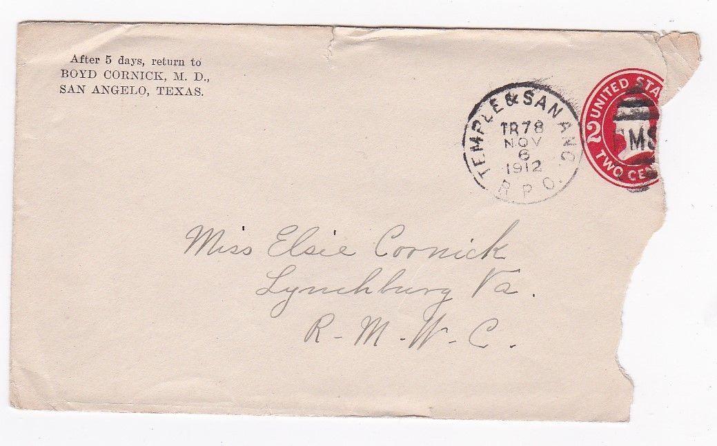 BOYD CORNICK M.D. TEMPLE & SANANO R.P.O. NOVEMBER 7 1912