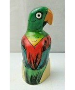 Vintage Hand Carved Wood Parrot Natural Deco - $18.00