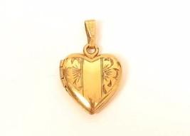 Vintage 12k Gold Filled Etched Heart Picture Photo Locket Pendant Charm*... - $44.55