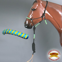Western Horse Halter Poly Rope Adjustable 8 Ft Lead Rope Green Yellow U-H116 - $19.79