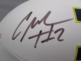 CHARLES WOODSON / AUTOGRAPHED MICHIGAN WOLVERINES LOGO WHITE FOOTBALL / COA image 3