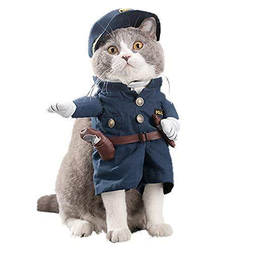 NACOCO Pet Policeman Costumes Dog Cat Halloween Suits (X-Large)