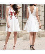 Women Summer Party Sexy V neck Midi Dress Ladies Flower A-line Dresses E... - £14.07 GBP