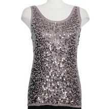 EILEEN FISHER Icy Plum Purple Fine Merino Wool Knit Sequin Shell Top M - $99.99