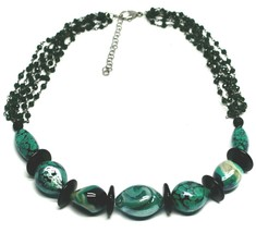 """NECKLACE BLACK, GREEN SPOTTED DROP OVAL MURANO GLASS 45cm 18"""", MADE IN ITALY image 1"""