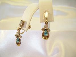 JMS Aquamarine Rhinestones Gold Filled Screwback Earrings Dangle Vintage... - $17.77