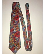 John Weitz Men's Neck Tie Floral Paisley Red Blue 100% Silk - $19.29