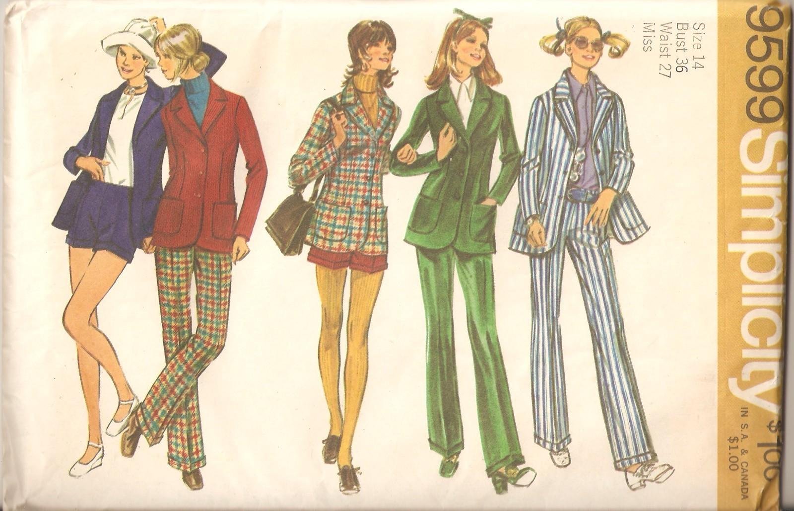 Vintage 1971 pants  shorts   jacket misses size 14 pattern simplicity 9599 uncut 1