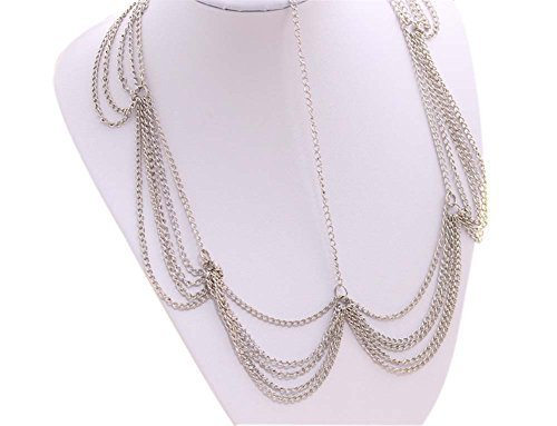Bride Frontlet Forehead Chain Retro Tassel Headdress, Silver