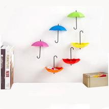 6PCS/Set Colorful Umbrella Shape Wall Hooks Umbrella Shape Wall Decor  - $5.99