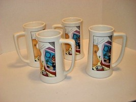 Tall Ceramic Ron Howard Cowboy Rerun Mugs Set of Four Mugs, Numbered  - $25.74
