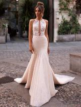 Sexy Sleeveless Romantic Appliques Mermaid Princess Wedding Dress image 7