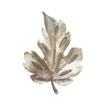 Vintage Mid-Century Brushed Silvertone Bold Leaf Brooch Pin, BSK - $13.99