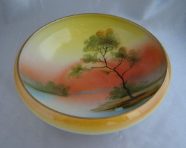 "Vintage NORITAKE Hand Painted Sunset Lake Swan Scene 8"" Porcelain Console Bowl - $14.60"
