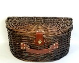 Wicker Picnic Basket Large Suitcase Clam Shell Style Carry Case with Lid Handle