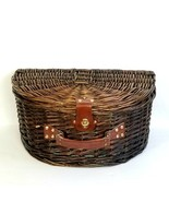 Wicker Picnic Basket Large Suitcase Clam Shell Style Carry Case with Lid... - $42.51