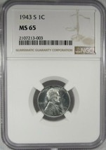 1943-S NGC MS65 Steel Wheat Cent Certified Coin AK27 - $35.70