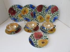 11 PC PORCELAIN TEA SET HANDPAINTED FLOWERS LUSTER CUPS SAUCERS PLATES J... - $19.95