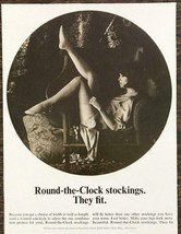 1964 Round-the-Clock Stockings Print Ad Arty Sepia Model Pose Legs Wing ... - $9.89